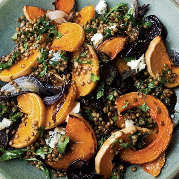 Maple and dukkah spiced roast butternut with lentils - Serves 20 guests, gf, vege