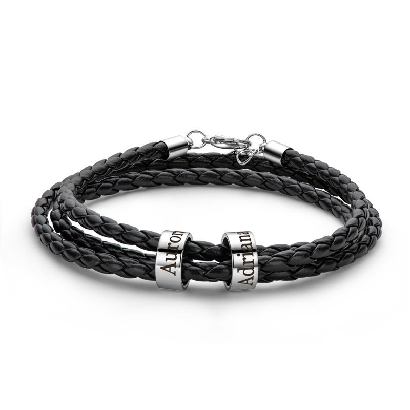 Braided Leather Bracelet with Small Custom Beads In Silver