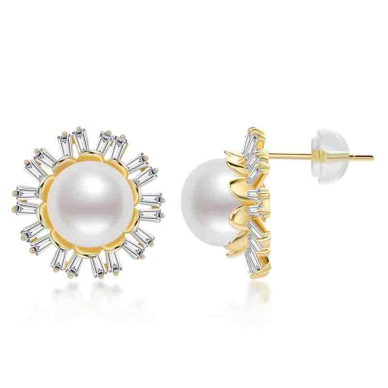 Luxury Emerlad Cut Flower Natural Cultured Freshwater Pearl Stud Earring