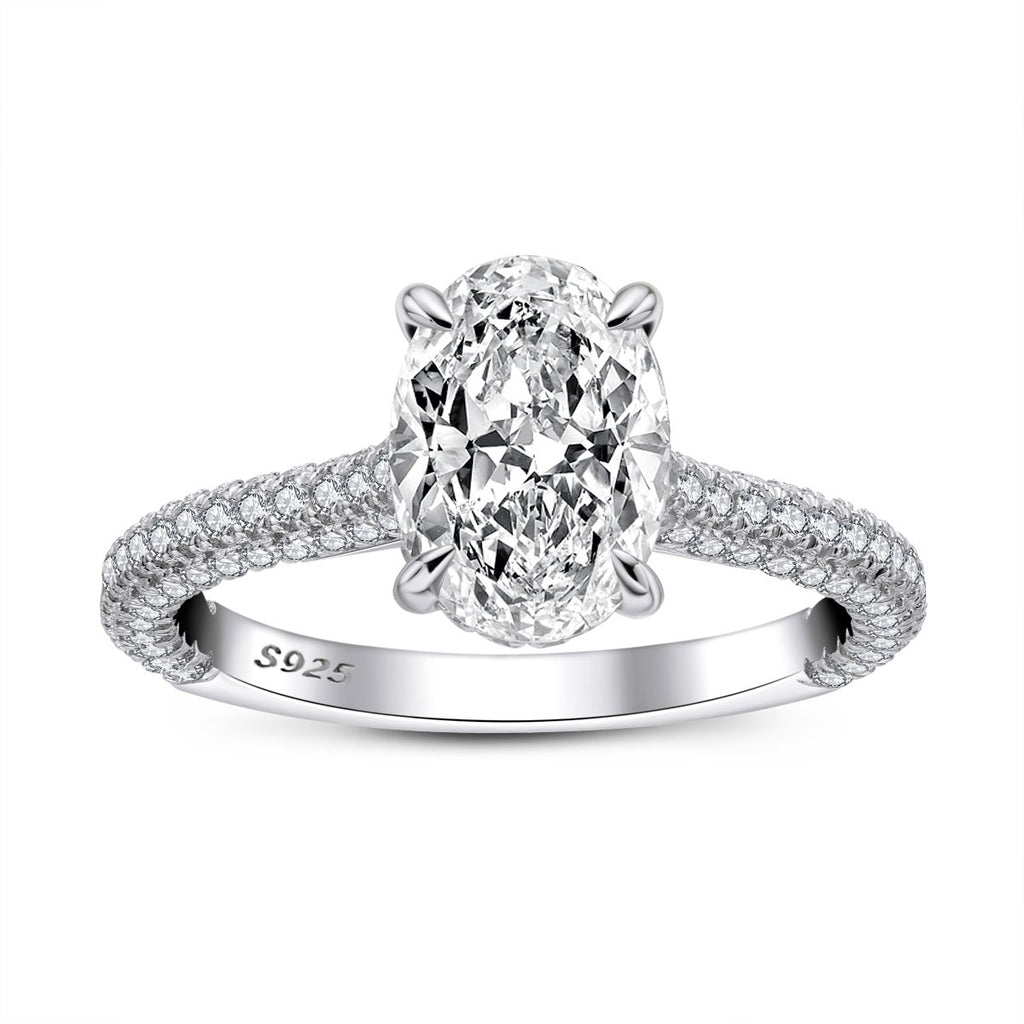 Oval Created White Diamond Ring
