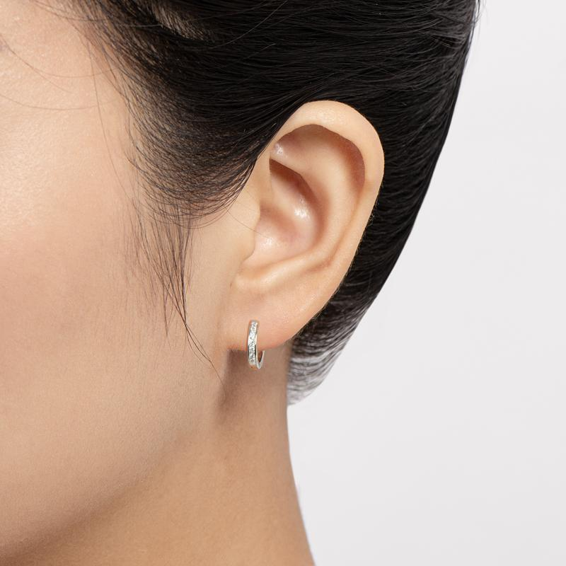 Channel Setting Hoop Earrings