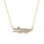 Crocodile Pendant Sterling Silver Created Diamond Necklace