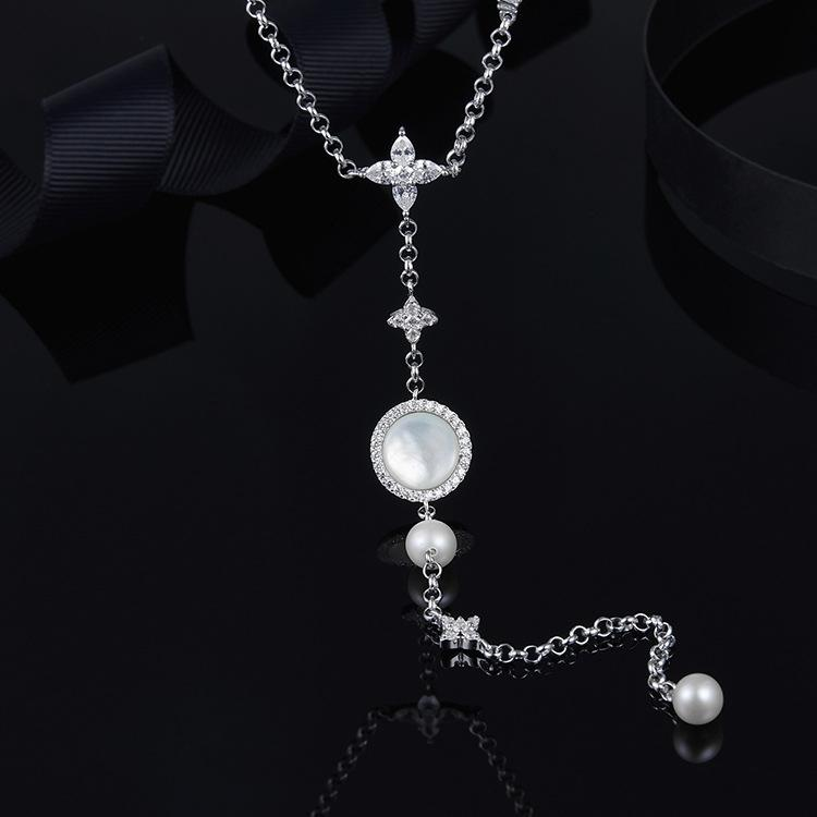 Fashion Round Pearl Long Drop Sterling Silver Necklace