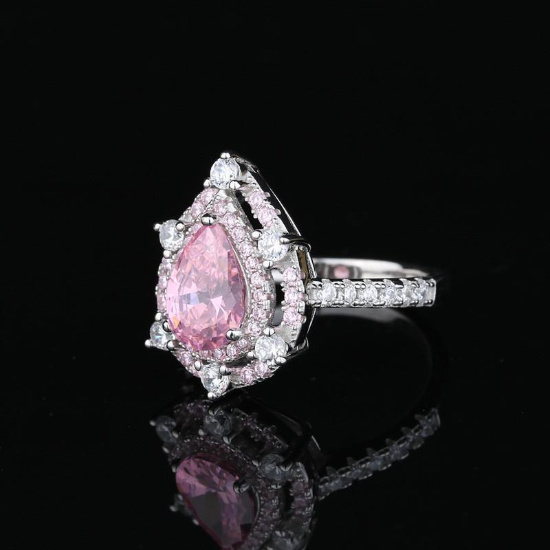 Pear Cut Pink Created Diamond Double Halo Ring