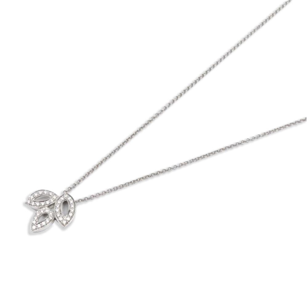 Three Leaves Created White Diamond Pendant Necklace