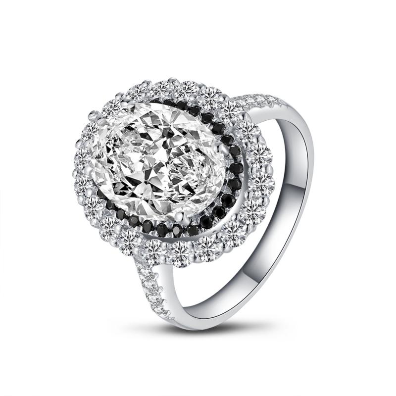 Luxury Double Halo Oval Created White Diamond Ring