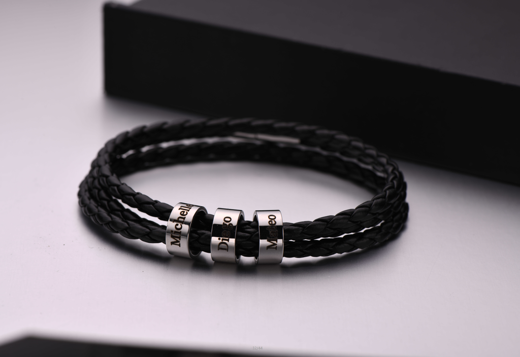 Men's Bracelet with Small Custom Beads - Leather Chain