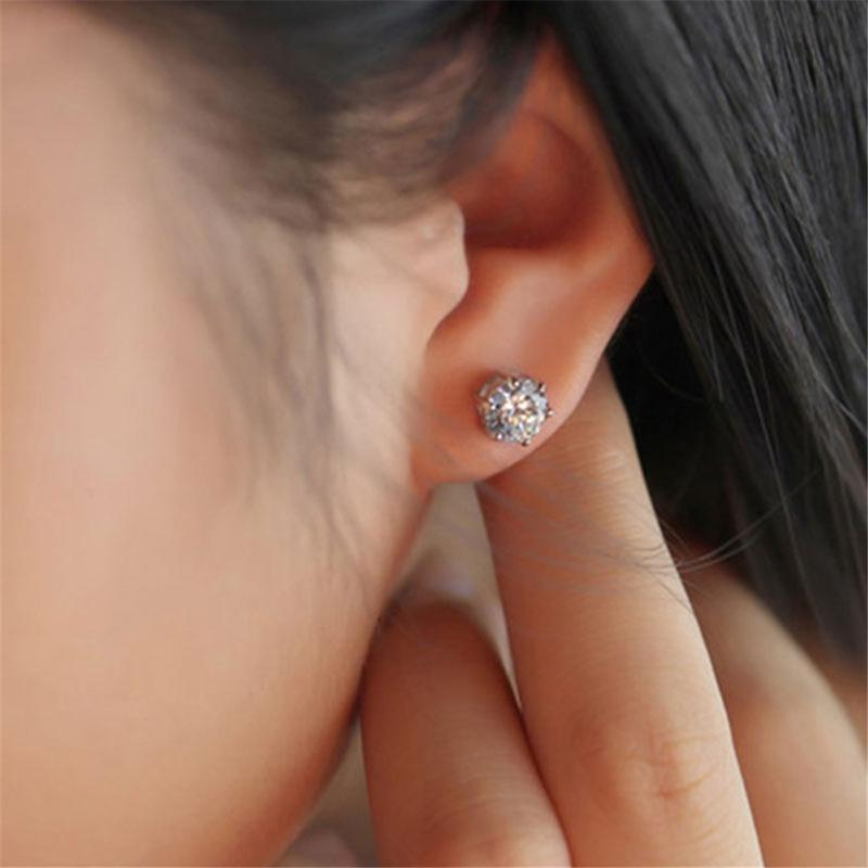 925 Sterling Silver Round White Created Diamond Stud Earrings