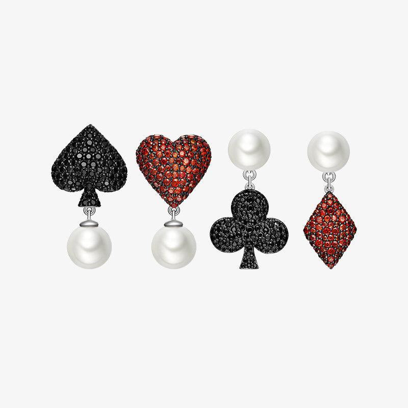 Black & Red Poker Knight Stud Earrings