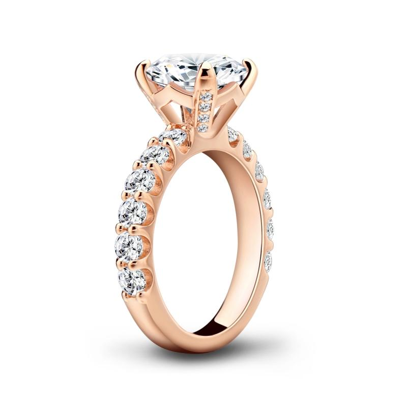 Rose Gold Round Created White Diamond Ring
