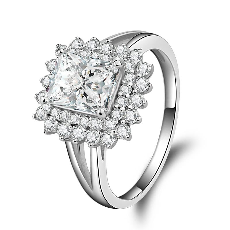 Radiant Cut Double Halo Created Diamond Ring