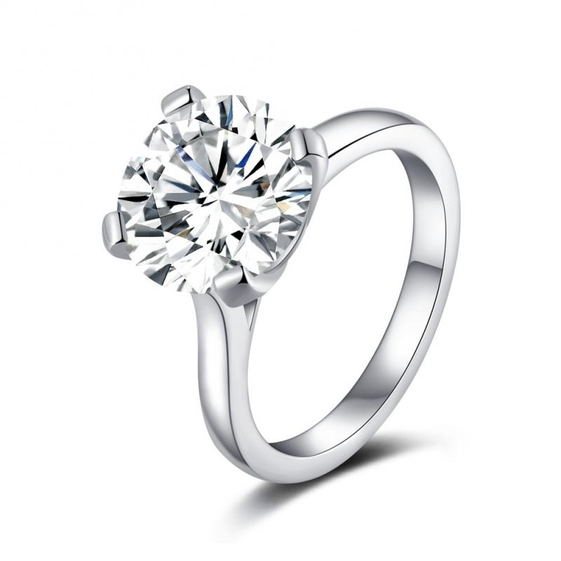 Classic Four Prong Round Created White Diamond Ring
