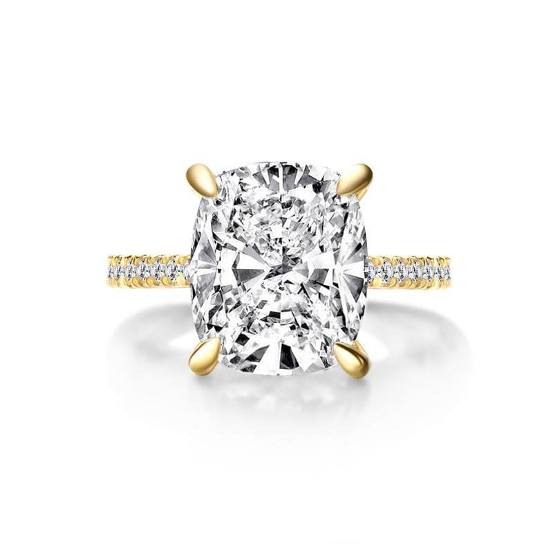 Yellow Gold Cushion Created White Diamond Halo Ring