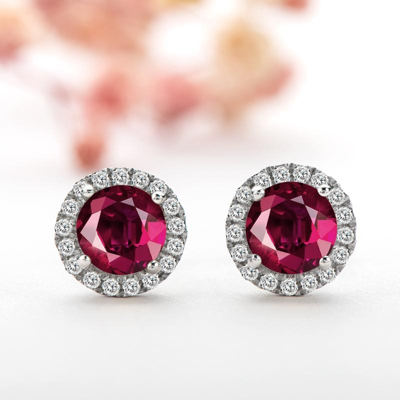 6mm Sterling Silver Gemstone Garnet Halo Stud Earrings