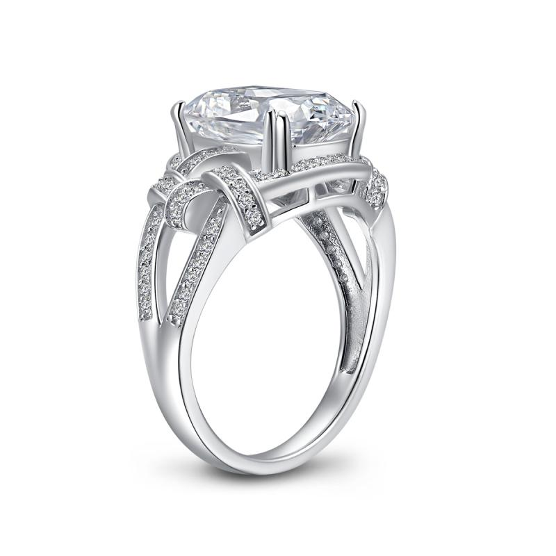 Twisted Cushion Created White Diamond Ring
