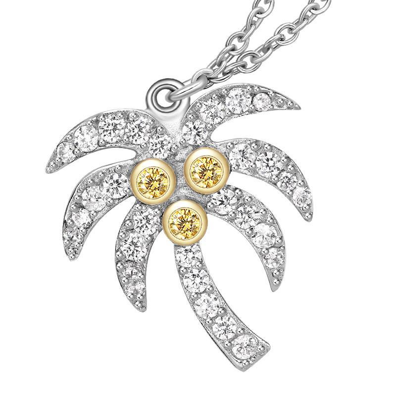 Round Coconut Tree Pendant Necklace