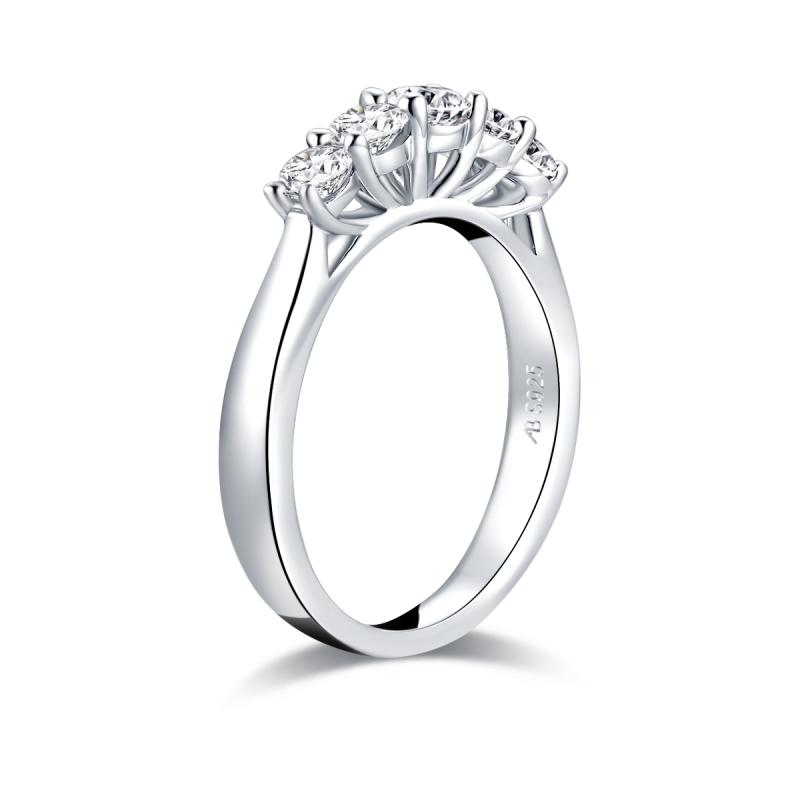 Five Stone Round Created White Diamond Ring