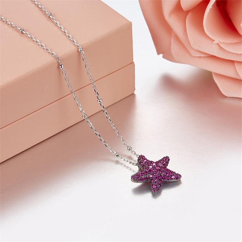 Dainty Sterling Silver Starfish Created Sapphire Necklace