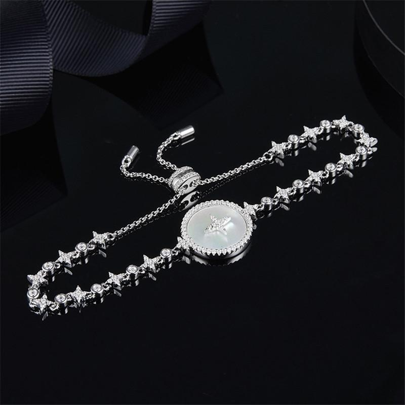 Charm Star Mother Shell Created Diamond Sterling Silver Bracelet