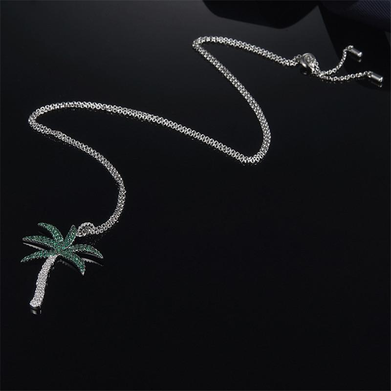 Green Coconut Tree Pendant Clavicle Chain Sterling Silver Necklace