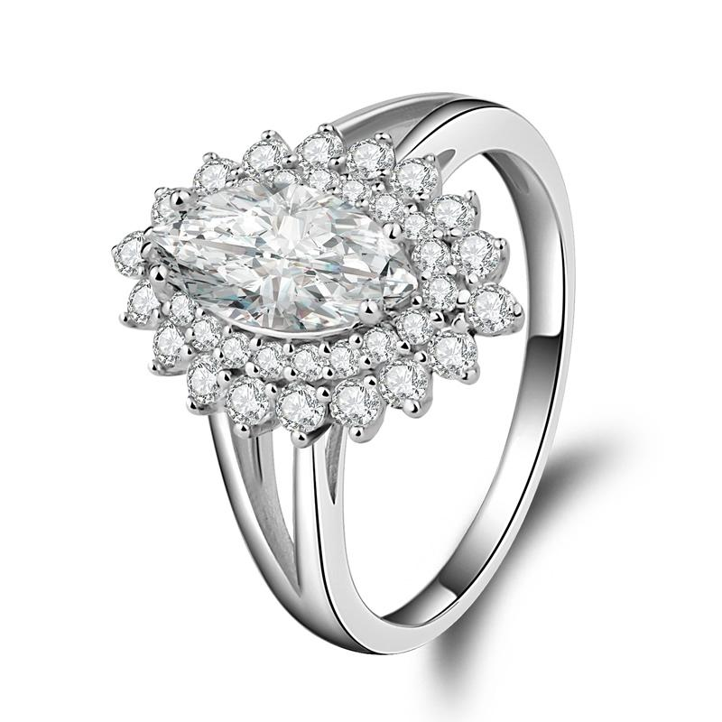 Marquise Cut Double Halo Created Diamond Ring