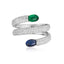 Sterling Silver Created Diamond Blue Green Candy Ring