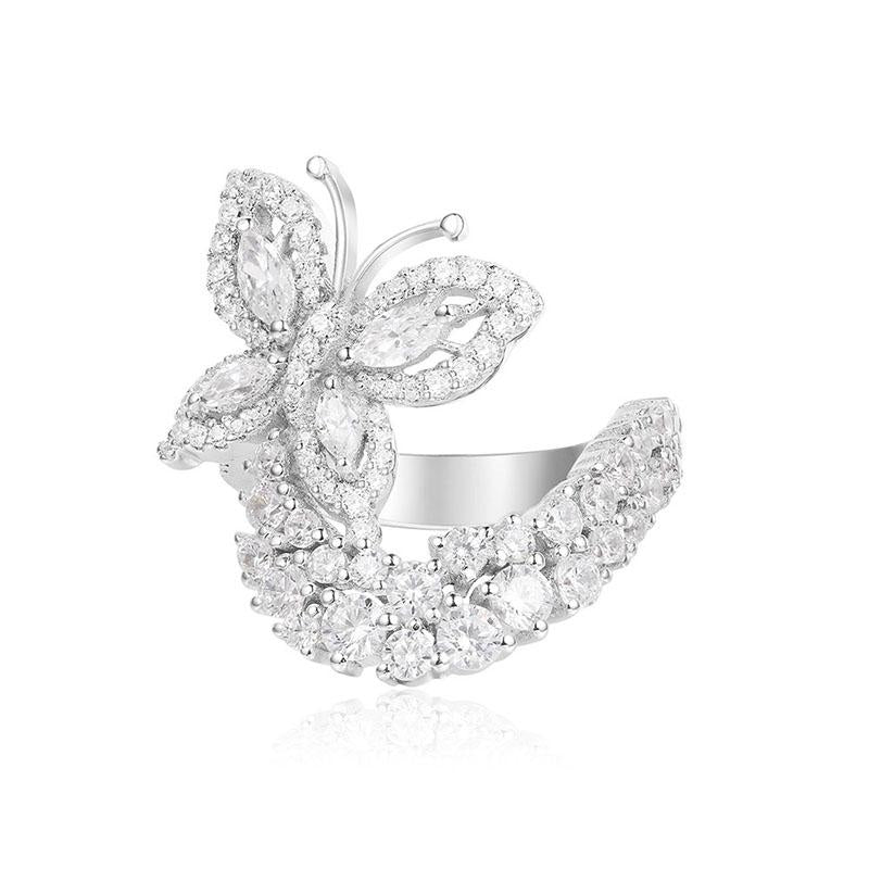 S925 Sterling Silver Created White Diamond Elegant Butterfly Ring