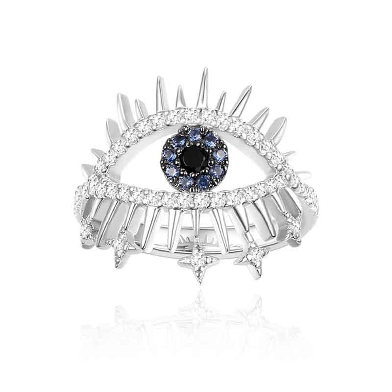 Sterling Silver Created Diamond Lucky Eye Ring