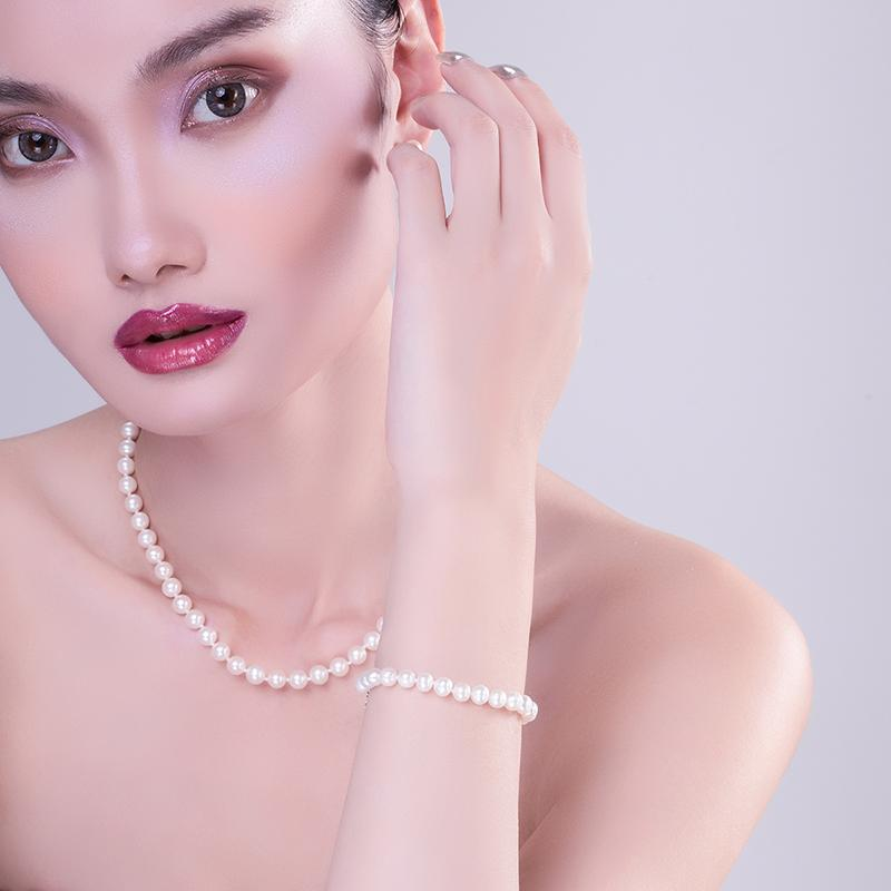 Freshwater Cultured White Pearl Bracelet 6-6.5mm/6.5-7.5mm/7.5-8.5mm AAAA Quality Round Pearl Sterling Silver Bracelet for Women