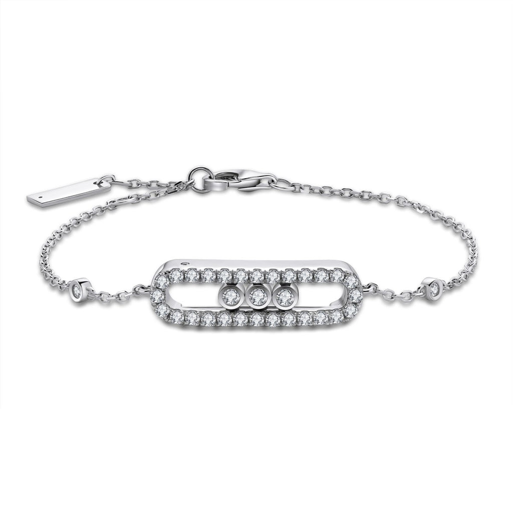 Round Created White Diamond Bracelet