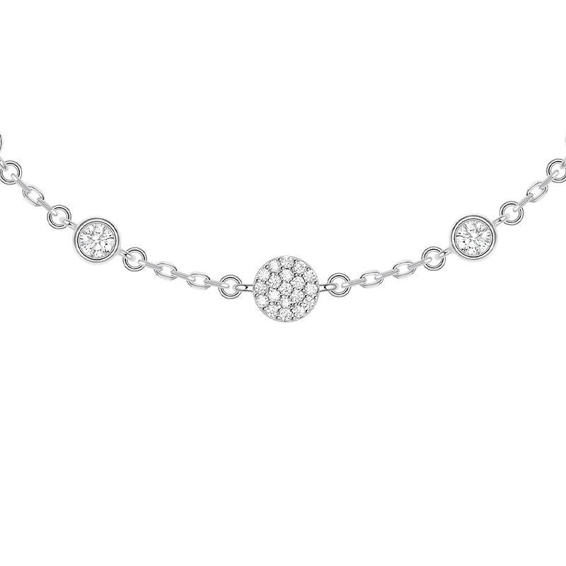 Sterling Silver Round Dance Created Diamond Bracelet
