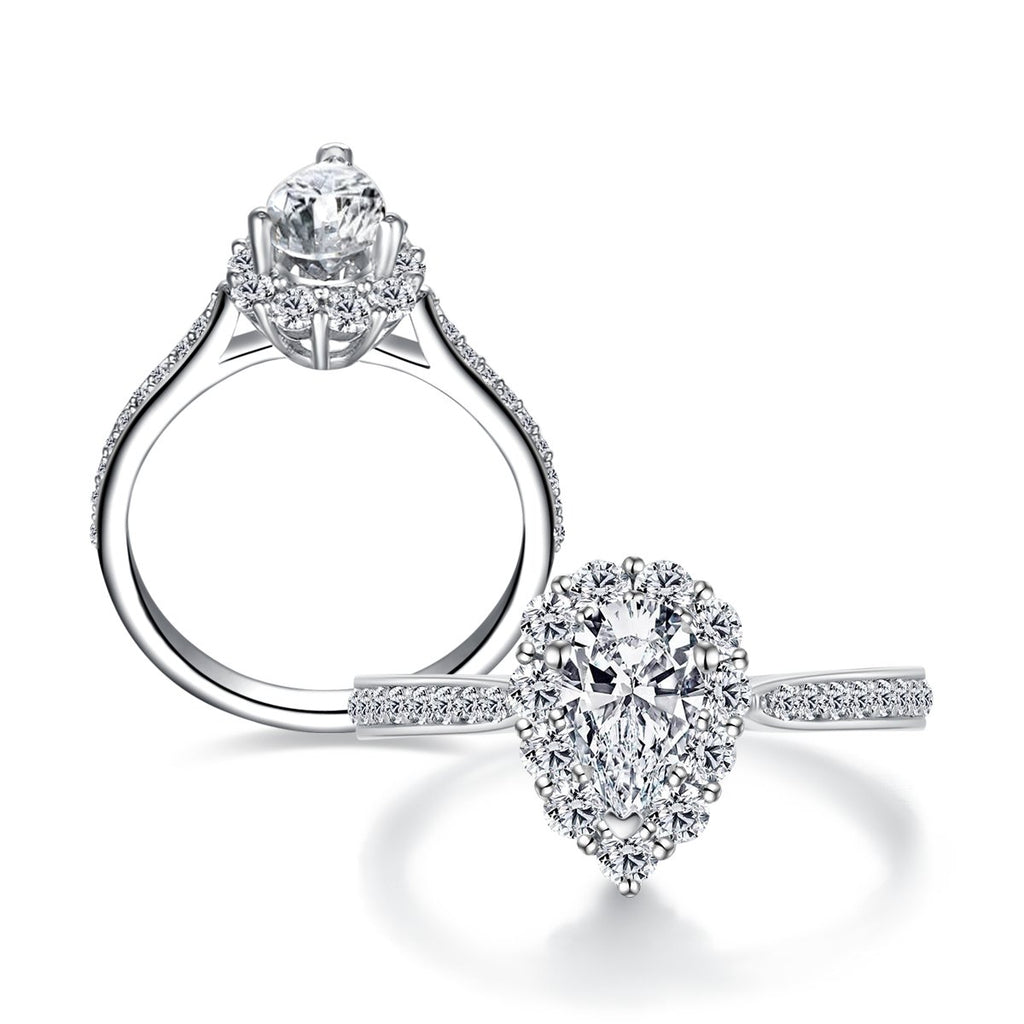 Halo Pear Created White Diamond Ring