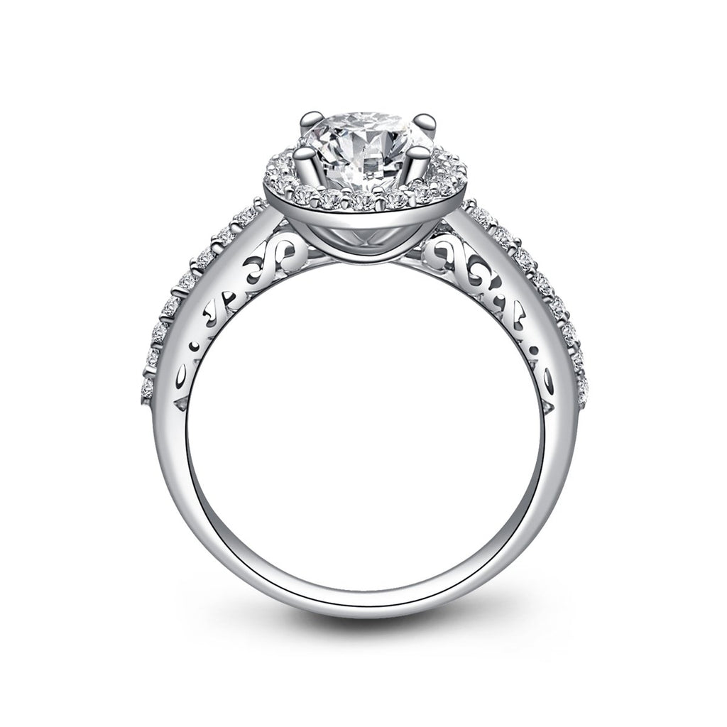Halo Round Created White Diamond Ring