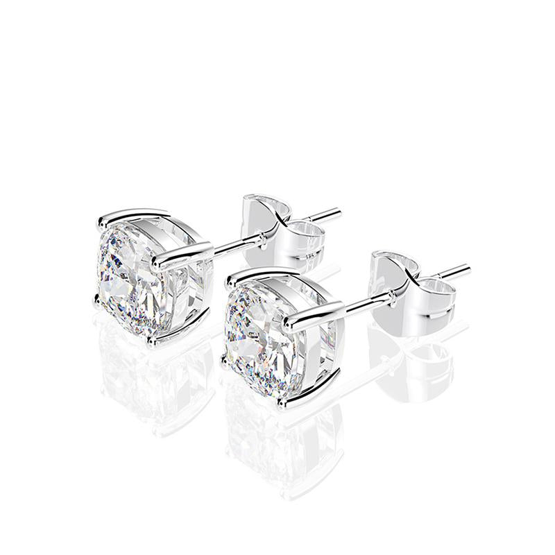 White Cushion Cut Sterling Silver Stud Earrings