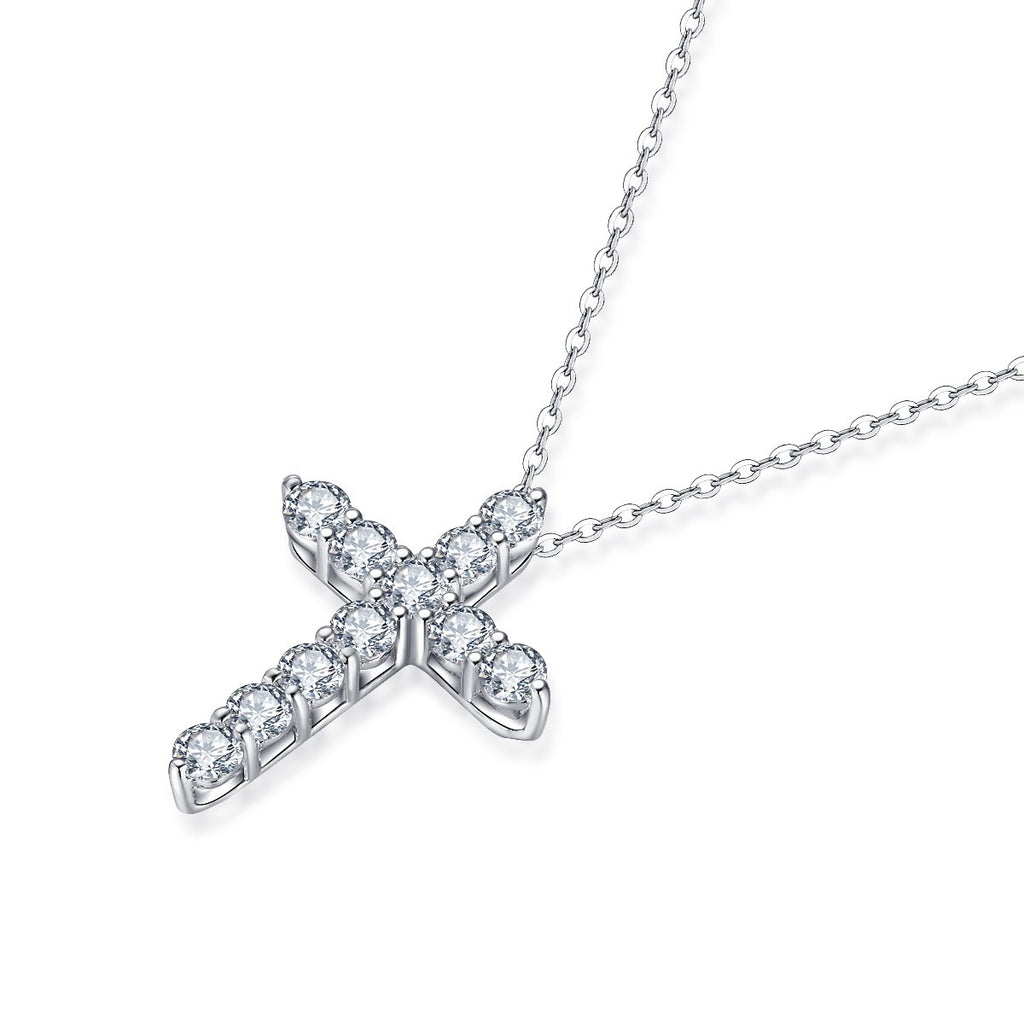 Cross Created White Diamond Pendant Necklace