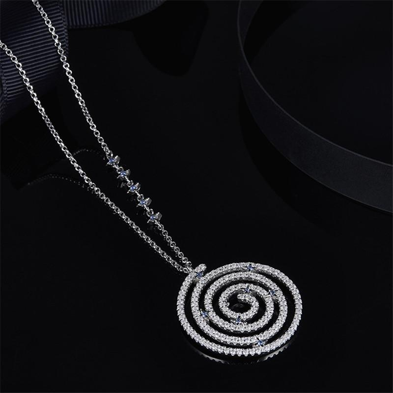 S925 Pure Silver High-End Micro Inlaid Crystal Diamond Star Disk Spiral Necklace