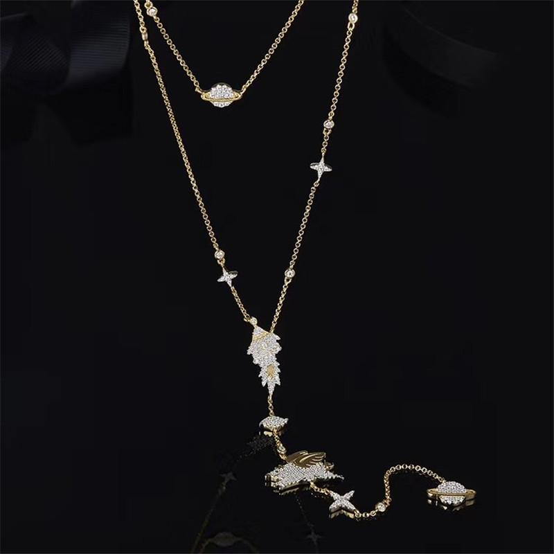 Lucky Flying Starry Elements Sterling Silver Necklace with White Created Diamond