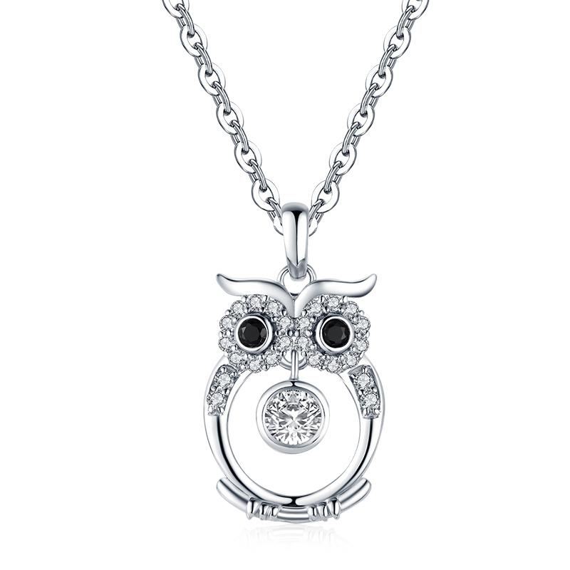 Owl Design Created White Diamond Pendant Necklace