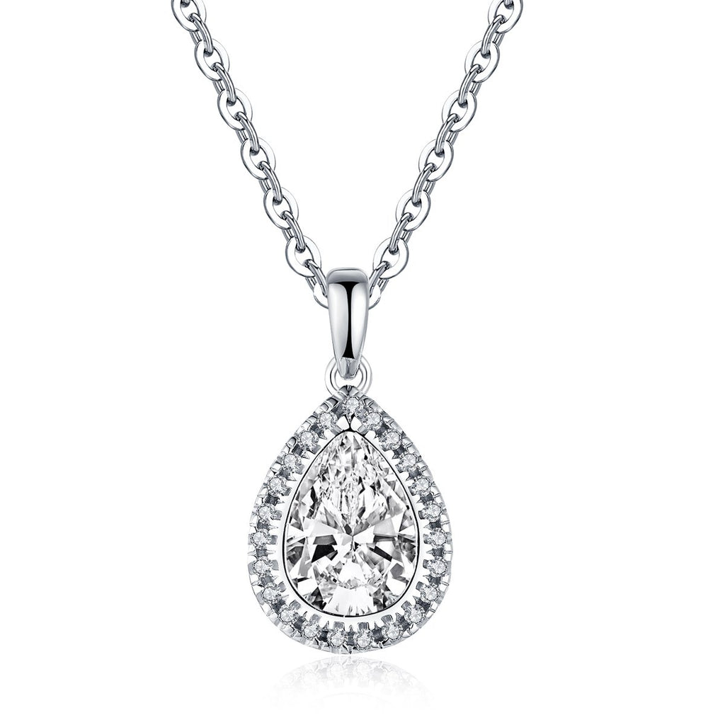 Pear Created White Diamond Pendant Necklace