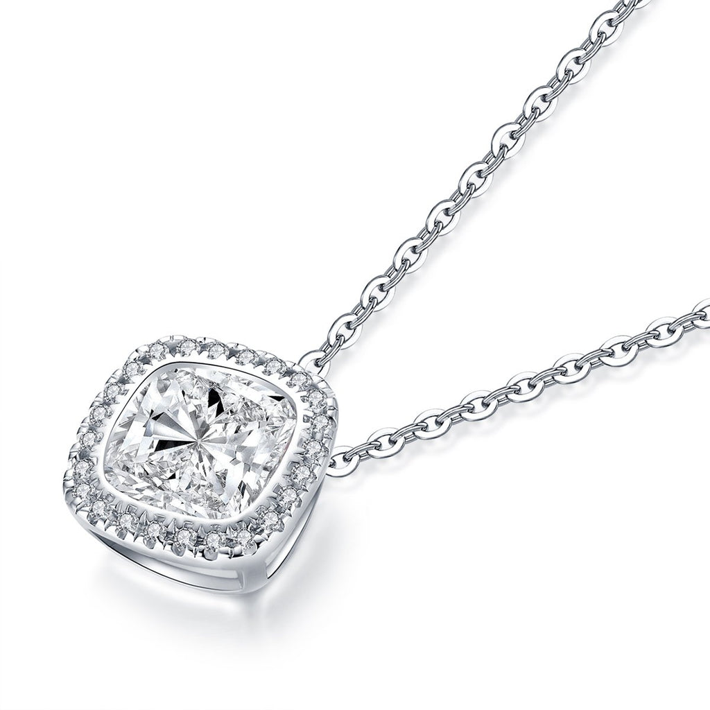 Cushion Created White Diamond Pendant Necklace