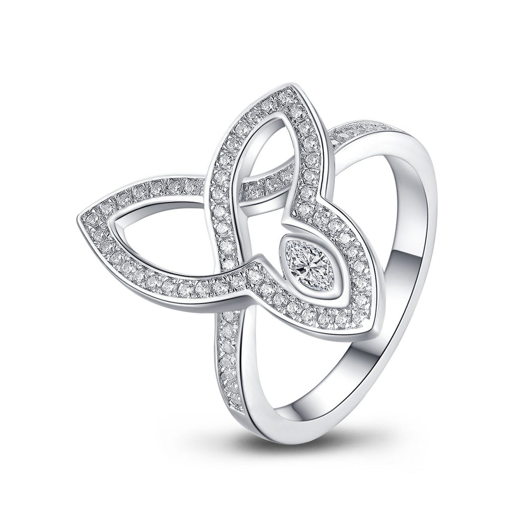 Three Leaves White Created Diamond Ring