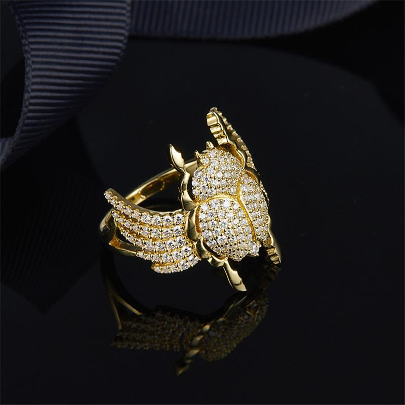 S925 Pure Silver High-end Micro Inlaid Crystal Diamond Fashion Personality Scarab Ring