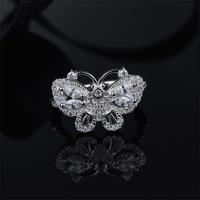 S925 Pure Silver Crystal Diamond Simple Tail Finger Butterfly Ring
