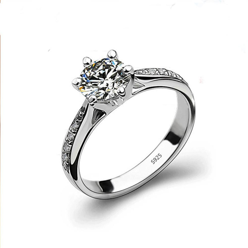 Sterling Silver 6 Prong Created Diamond Ring