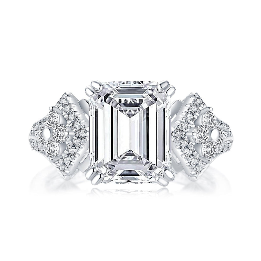 Vintage Emerald Cut Created White Diamond Ring