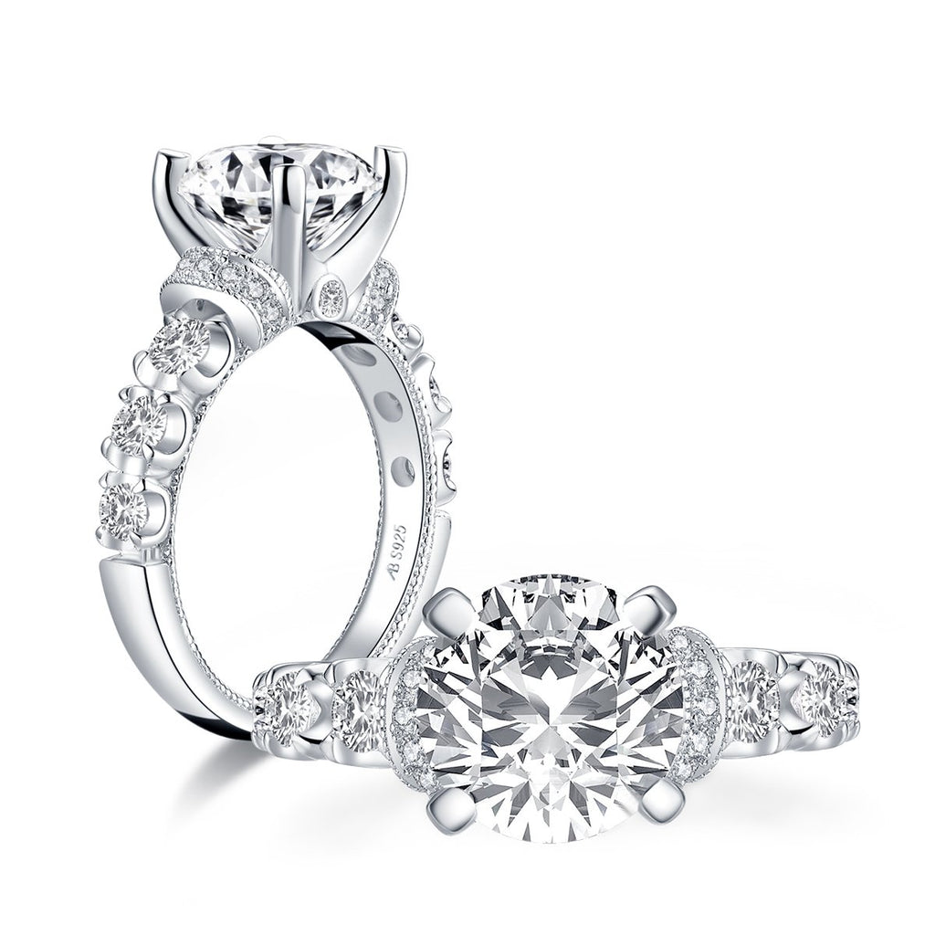 Vintage Round Created White Diamond Ring