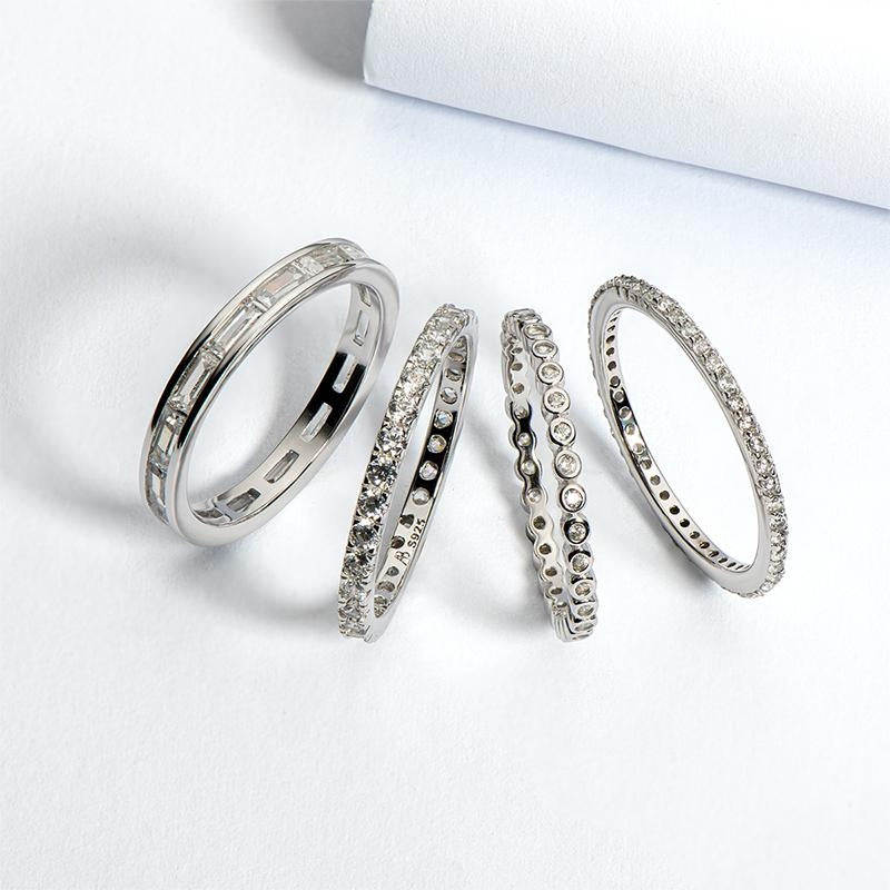 4PCS Full Eternity Stackable Ring Sets
