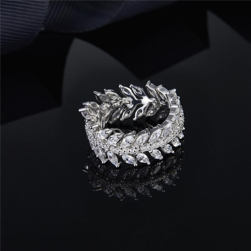Leaf Crystal Diamond Olive Leaf Full Diamond Ring