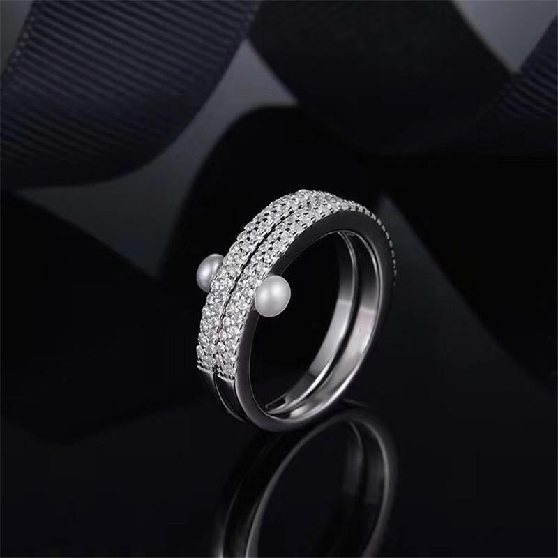 Double Eternity Created Diamond Row Pearl Ring