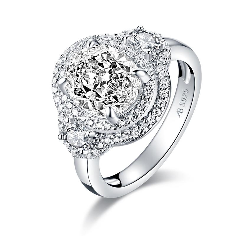 Oval Created White Diamond Halo Ring